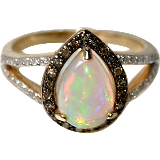 14K Gold Natural Opal, Champagne and White Diamonds, Engagement Ring, 1.10ct Opal, 0.25ct Diamonds