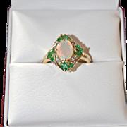 Estate Opal w/ Emeralds Ring, 10k yellow Gold, Diamond Accents