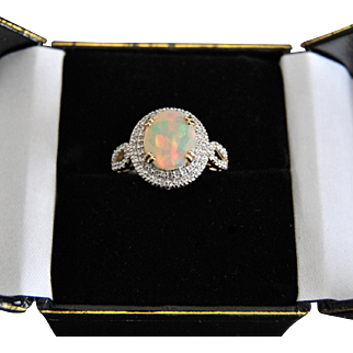 1.70 ct Ethiopian Opal and Diamonds 10k Gold Ring, Opal Solitaire Engagement Ring, Non traditional Promise Ring, Birthstones