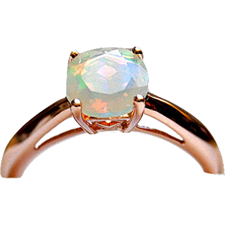 14K Rose Gold Opal Ring, Natural Untreated Gemstone, Engagement Ring