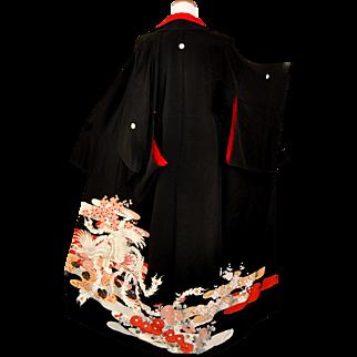 Rare 1930 Ho-o Phoenix Kimono, Japanese Kurotomesode, Silk, Yuzen