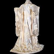 Mythical Phoenix Japanese Kimono, bridal Uchikake, Nishiki Silk