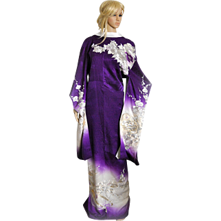 Royal Embroidery Japanese Kimono, Silk Robe, Furisode