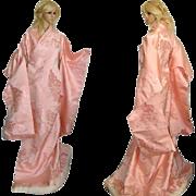 Yoko Japanese Kimono Uchikake, Silk Robe, Long Bridal Cape, Cherry Blossom, Kaftan