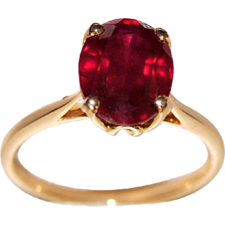 3ct Ruby, 14K Gold Engagement Ring, Cathedral Setting