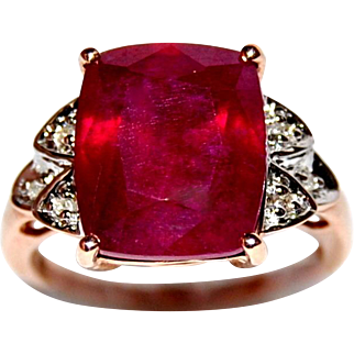 10K Ruby Ring, 5.80 ct, Cushion Cut, Rose Gold, Diamond accents