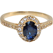 14K Sapphire Engagement Ring, Natural Blue Sapphire, Diamond Accents, Halo, Yellow Gold