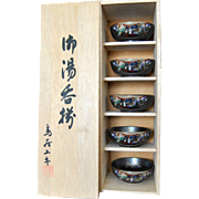 Satsuma 6-piece Condiment Bowl Set, Cypress Wood Box, Japanese Collectible Porcelain, Ceramics