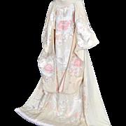 Peony Japanese Kimono, Silk Robe, Uchikake, Floral Embroidery, Bridal, Wedding Kimono