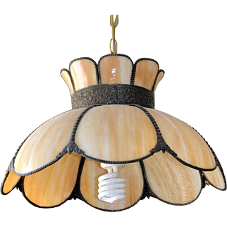 Vintage Slag Glass Pendant Lamp, Hanging Lampshade, Bronze Brass, Smoky Glass, Lighting, Lanterns, Chandeliers