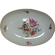 Antique 19th Century Meissen Porcelain Low Serving Bowl W/ Hand Painted Flowers