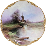 Wonderful Hand Painted Jean Pouyat Limoges Plate W/ River Windmill Decoration j