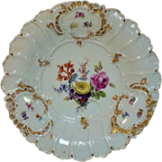 Antique 19th C Meissen Platter with Flower Decoration 11.75""