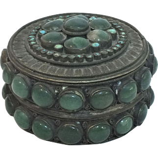 Antique 19th Century Chinese Silver Covered Box w/ Green Hard Stones & Turquoise Bezel