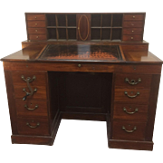 19th Century Mahogany Mechanical Architect Desk W/ Large Secret Compartments