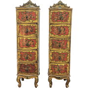 Pair Of Antique Tall Narrow Country French Hand Painted Side Hall Jewelry Chest