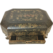 Large Antique Claw Footed Japanese Lacquered Valuable, Jeweler Box W/ 1 Drawer