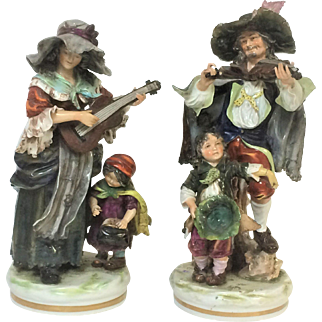 Fine  Pair of Large Capodimonte Figurines ~ Group of Street Musicians ~ Violinist & Guitarist Porcelain