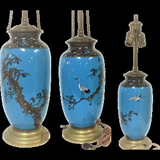 Fine 19th Century Japanese Meiji Period Cloisonne Vase Lamp W/ Stork & Tree Decoration