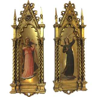 Pair of Large 19th C or Earlier Italian Hand Carved Gold Gilt Angel Painting w/ Antique Gothic Wood Frame