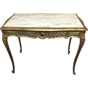 Antique French Carved Hall Liberey Entrance Table W/ White Marble & Gold Leafed