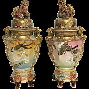 Pair of Large Satsuma Urn Vases With Bird Flower & Foo Dog Decoration