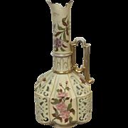 Large Royal Rudolstadt Reticulated Flower Decorated Ewer Vase