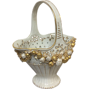 Schierholz Germany Porcelain Retculated Basket With Fruit Decoration All Around