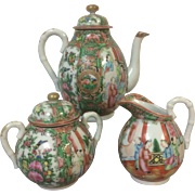3 Piece Chinese Porcelain Rose Medallion Coffee Pot, Sugar and Creamer