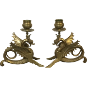 Pair of Antique Bronze Winged Dragon Candlesticks