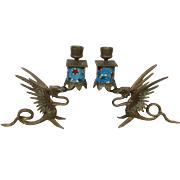 French Longwy Bronze Winged Dragon Candlestick