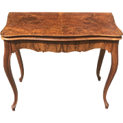 Antique 19th Century Louis XV French Burl Card Hall Way Table With Secret Compartment