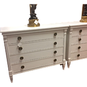 Pair of Baker Furniture 4 Drawers Bachelor Chest In White