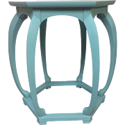 Pair of Asian Inspired Side Tables Painted in Blue