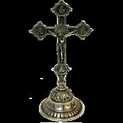 "Rare Continental 800 Silver Altar Cross Crucifix Standing Altar 9"""