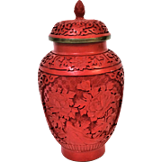 Chinese Cinnabar Lacquer Carved Lidded Vase Jar Urn With Flower Carvings 8""