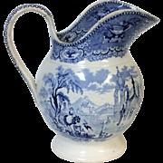 Circa 1830's Staffordshire Blue Transferware Scenery Decorated Pitcher