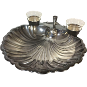 "Large 15"" Scallop Shell Sheffield Silverplated Serving Tray W/ Condiment & Tooth Pick Holder"