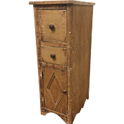 Circa 1800 Quebec Small 2 Drawer Narrow Tall Cupboard Cabinet