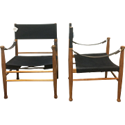 Pair of Mid Century Canvas Safari Chairs