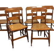 Set of 6 19th Century Tiger Maple New England Sheraton Chairs