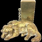 Wonderful Antique Cast Brass Labrador Match Safe