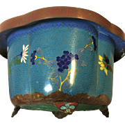 Antique Chinese Cloisonne Planter With Garden Flowers Decoration