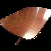 Henkel Harris Mahogany Double Pedestal Dining Room Table # 2208