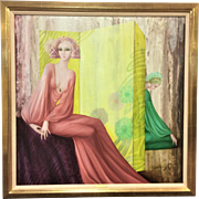Large Philippe Auge (b. 1935) Oil on Canvas Colorful Art Deco Figure of 2 Woman