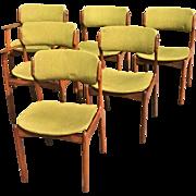 Set of 6 Danish Mid Century Rosewood Oddense Maskinsnedkeri Dining Room Chair