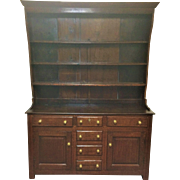 """This wonderful 2 part cabinet measure 61"""" wide, 19.5"""" deep and 84.5"""" tall ( 34.5"""" base + 50"""" top). It have 3 working drawers with 3 faux drawers in center. Tone and patina on this oak cabinet is just fantastic. It dates to early 1800's."""