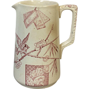 Ca 1850 Aesthetic Movement Red Transferware English Staffordshire Milk Pitcher