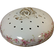 Limoges Porcelain Dome Lid Cheese Plate Cover Flower Gild Gold Rim Decoration