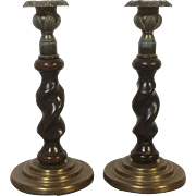 Pair Antique English Brown Glaze Pottery Barley Twist Candlesticks